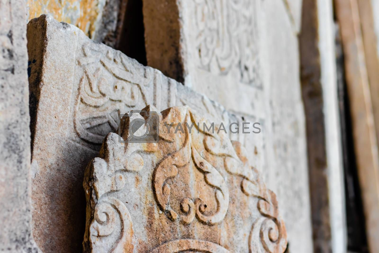 some antique tablets with interesting textures on them at a church at ephesus. photo has taken from izmir/turkey.