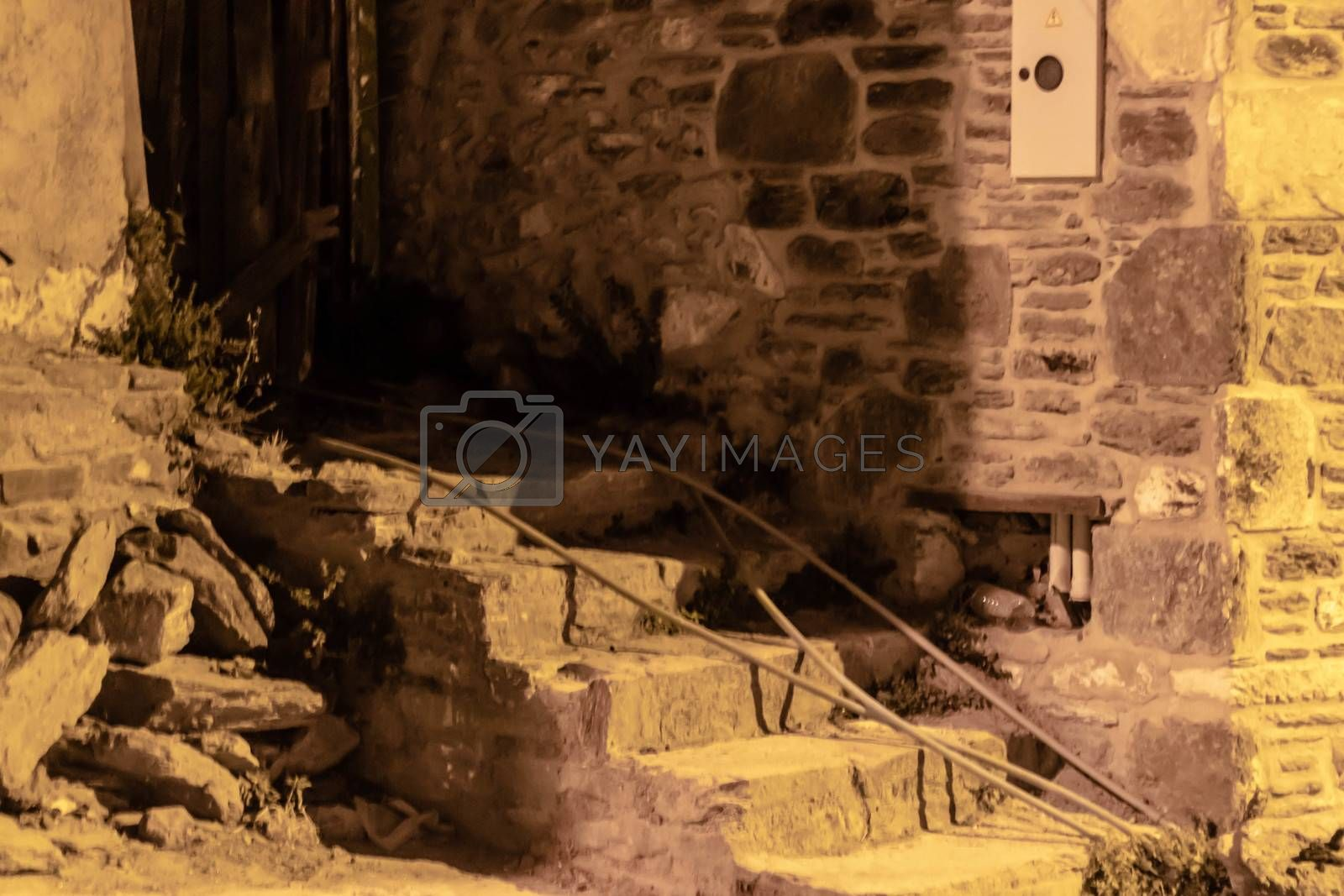 a night shoot from a stairs front of a building at old village named sirince. photo has taken at izmir/turkey.