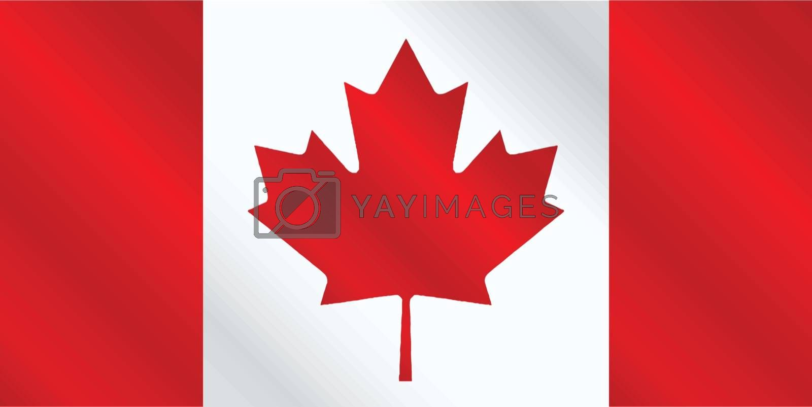 The canadian flag in red and white gloss