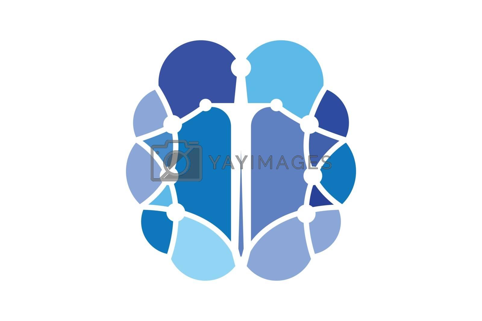 Brain connection logo design, digital brain logo template, Brain logo