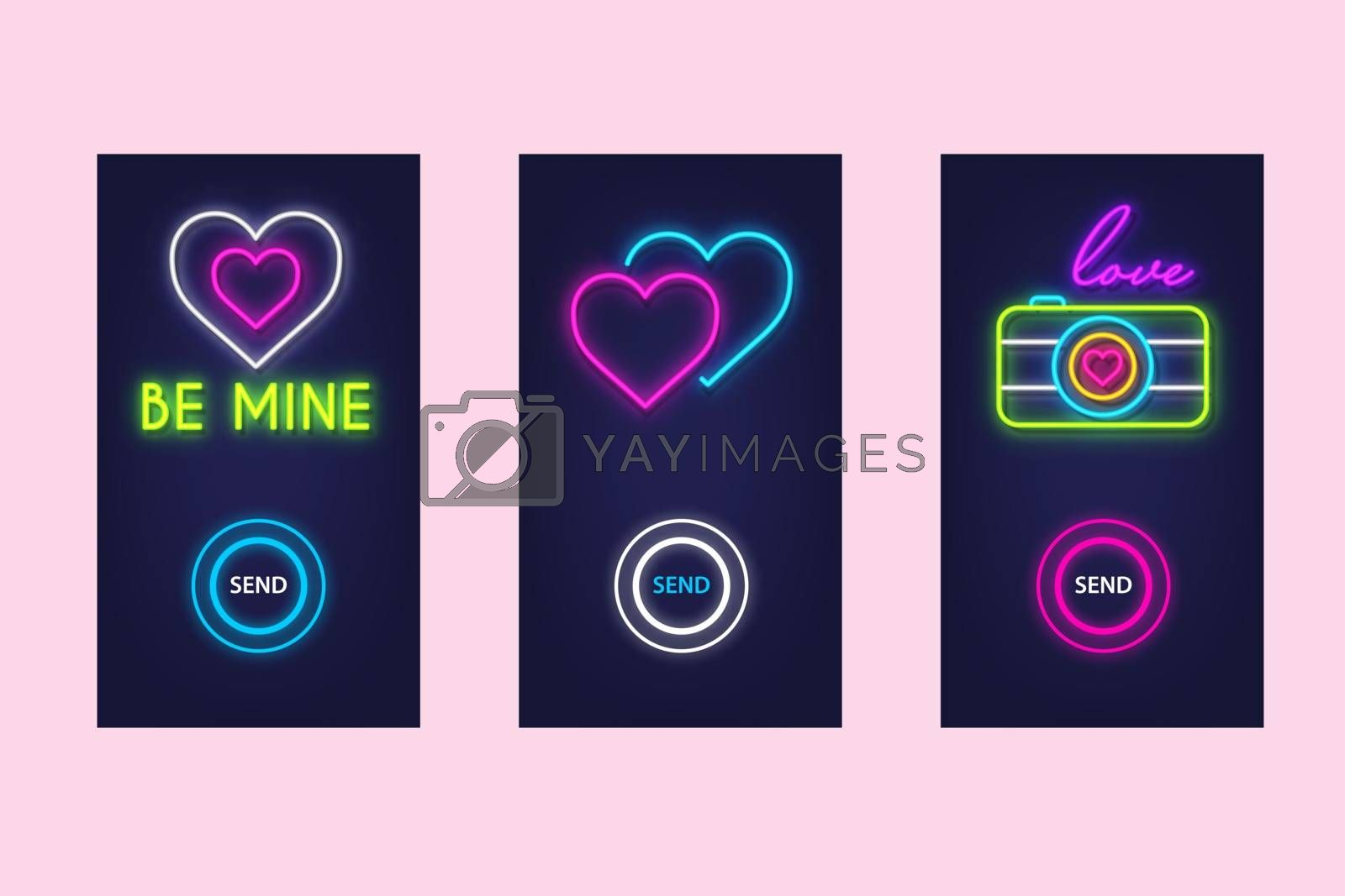 Love mobile app set with neon glow icons. Virtual love. UI design. Vector.