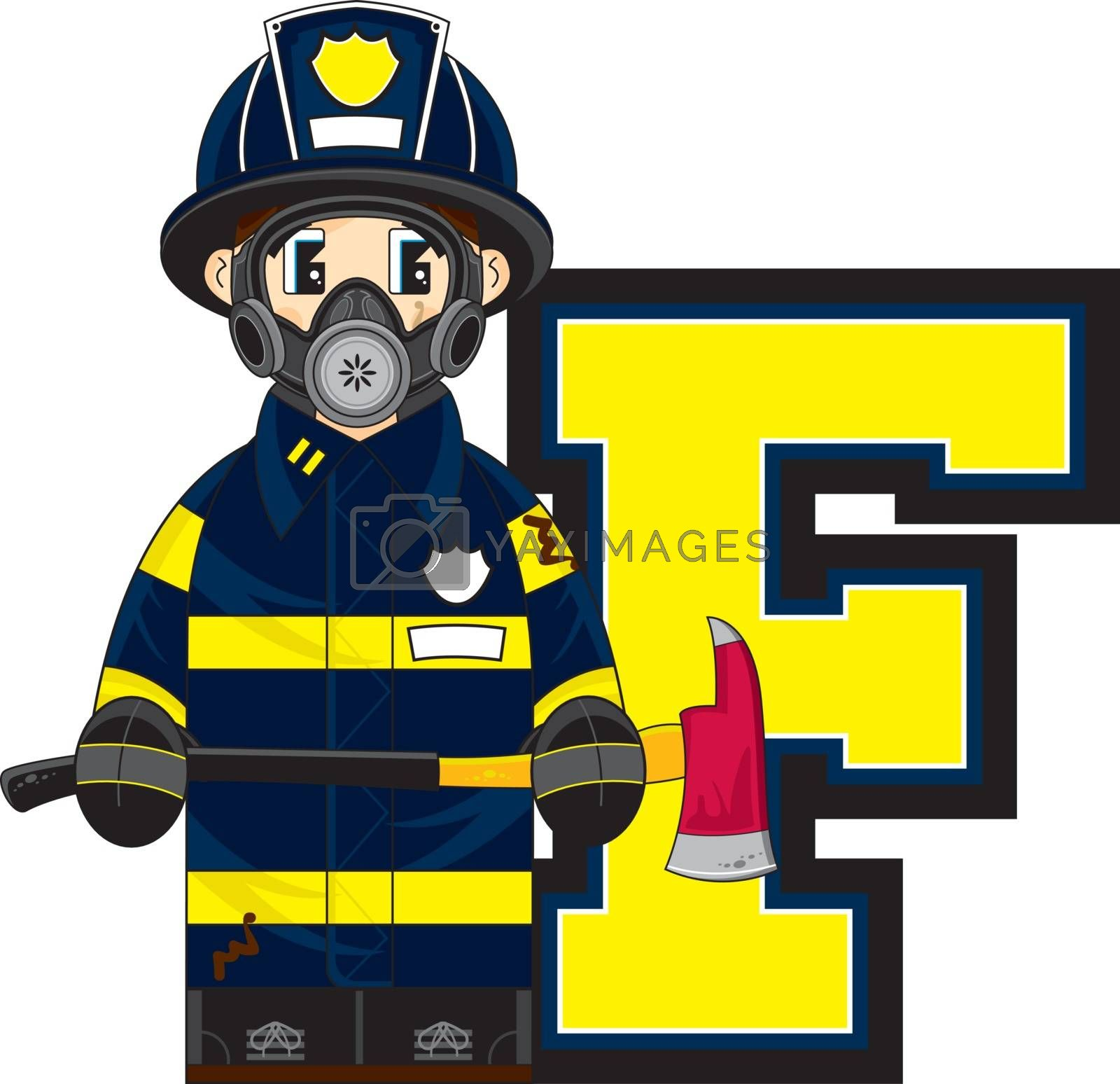 F is for Fireman Alphabet Learning Vector Illustration by Mark Murphy Creative