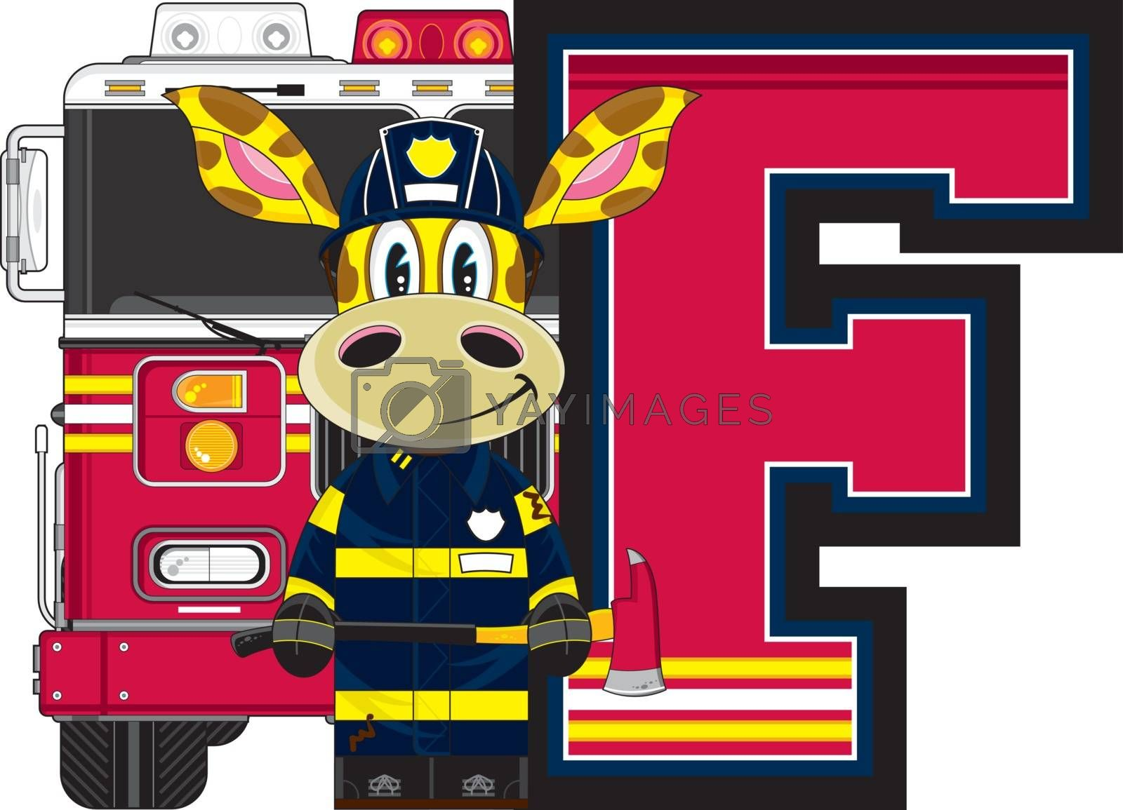 F is for Fireman - Giraffe Fireman and Fire Truck Alphabet Learning Illustration - By Mark Murphy Creative