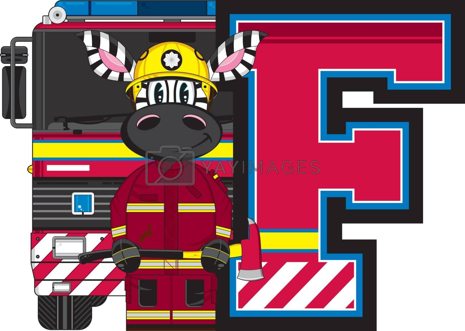 F is for Fireman - Zebra Fireman and Fire Truck Alphabet Learning Illustration - By Mark Murphy Creative