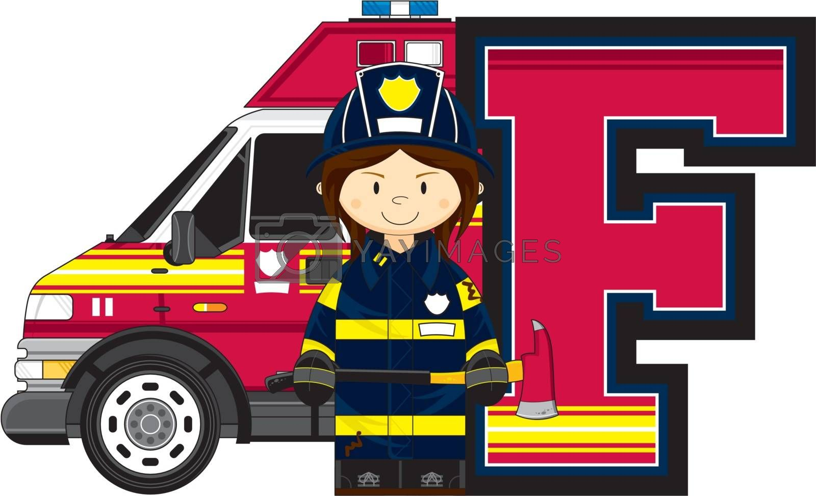 Cute Cartoon F is for Fireman with Fire Engine Alphabet Learning Illustration - by Mark Murphy Creative