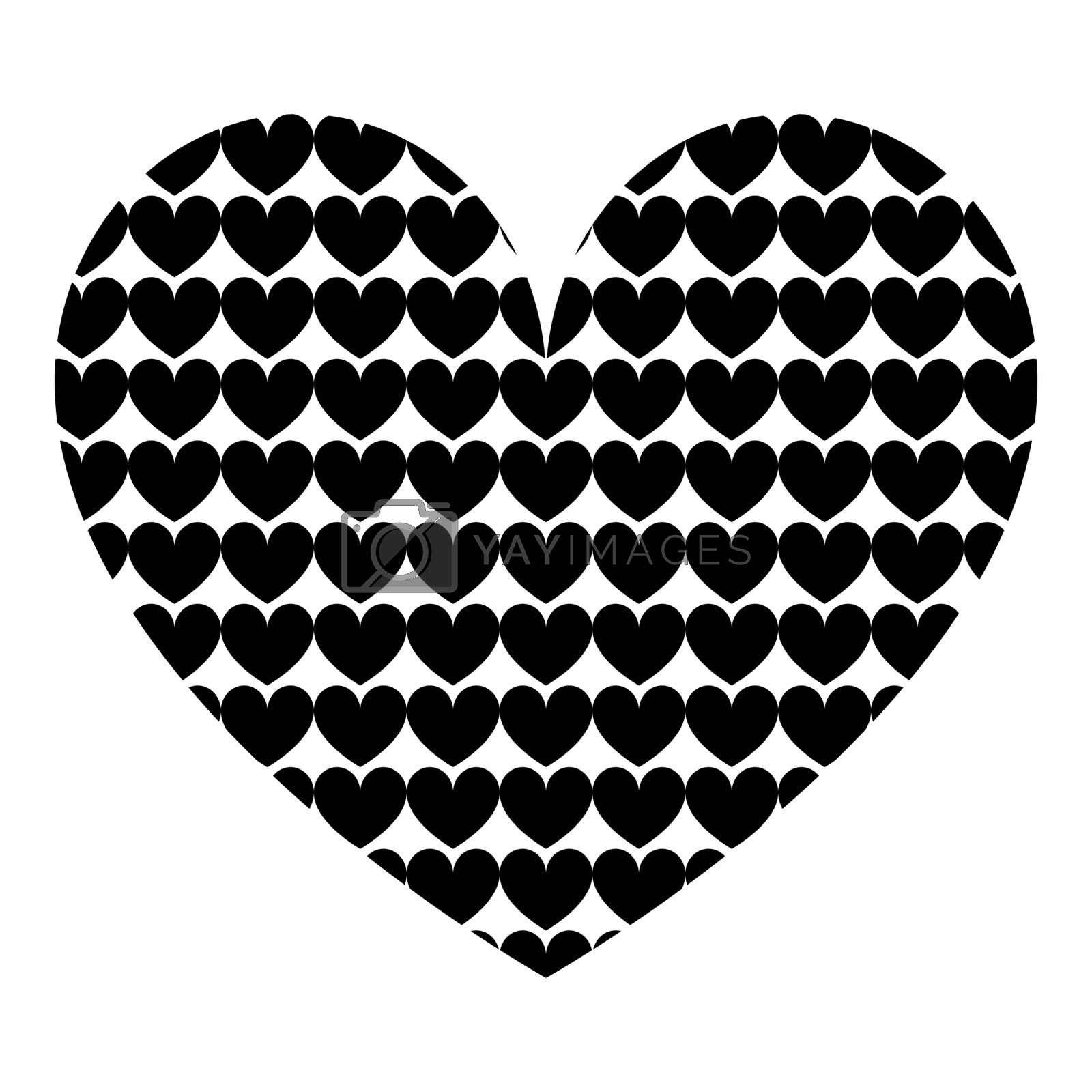 Heart with hearts inside Heart pattern in heart icon black color vector illustration flat style simple image