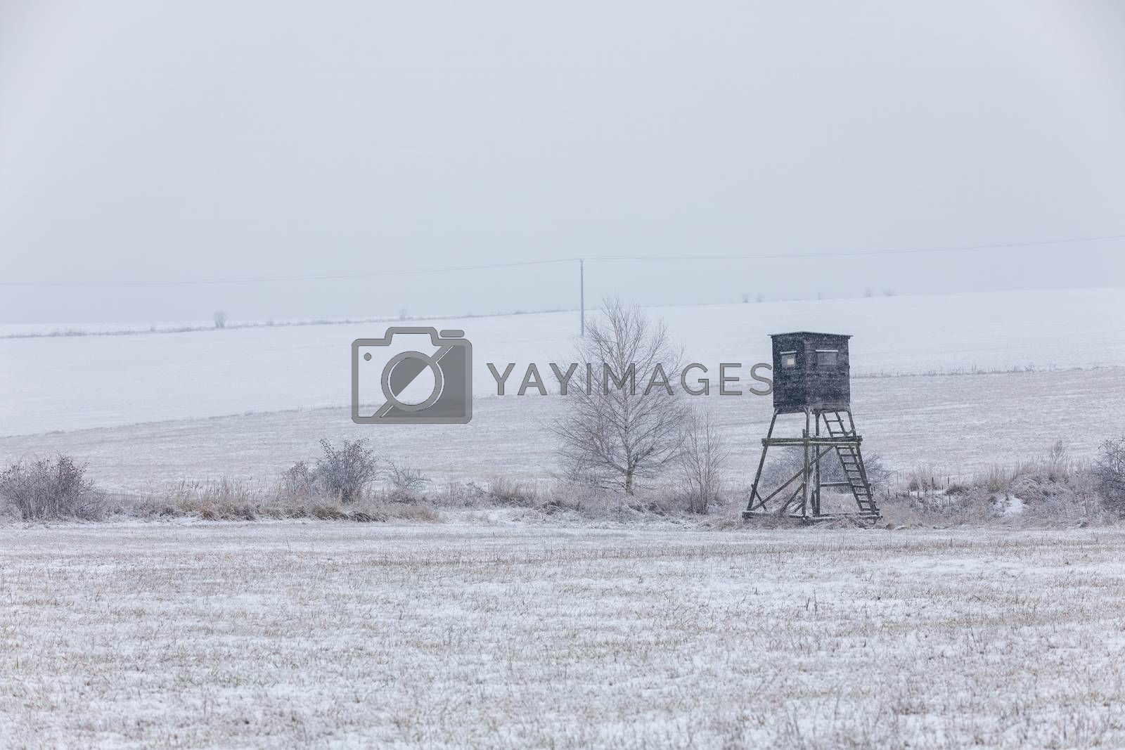 Winter european landscape with hunting tower covered with snow and heavy snowfall storm with falling snowflakes. Christmas concept.