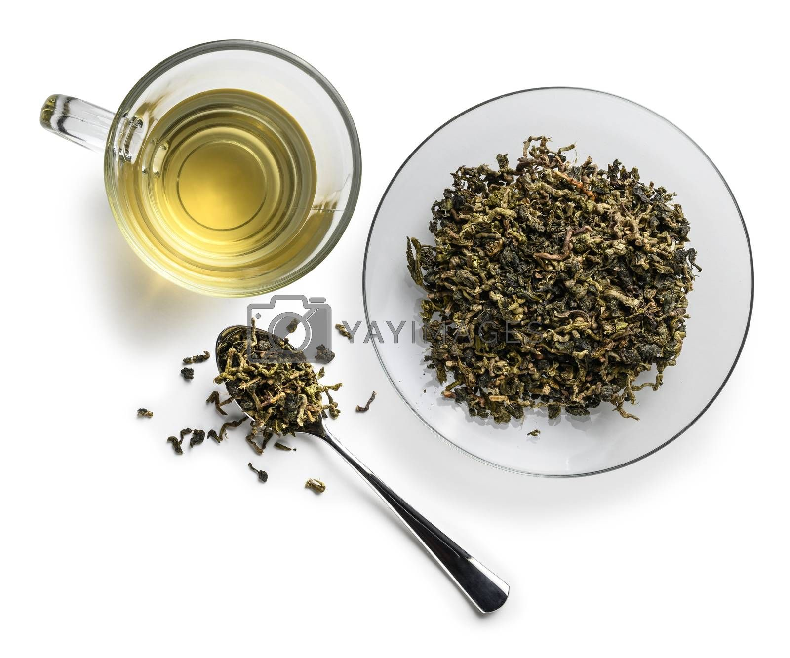 Lotus tea on a white background. The view from the top.