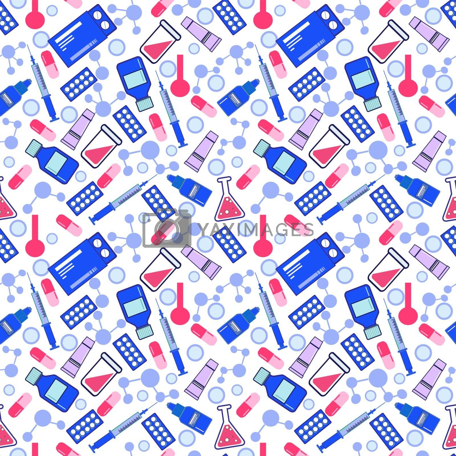 Flat style vector seamless pattern for medical, healthcare or pharmacy concept. Background with medicine and pharmacy items. Wallpaper of chemistry laboratory equipment.