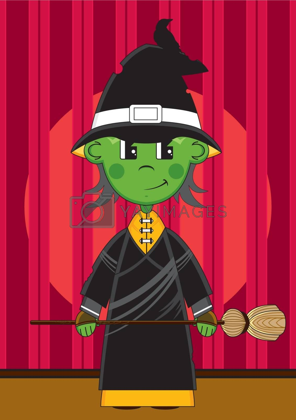Cute Cartoon Witch with Broomstick on Stage - Vector Illustration - By Mark Murphy Creative