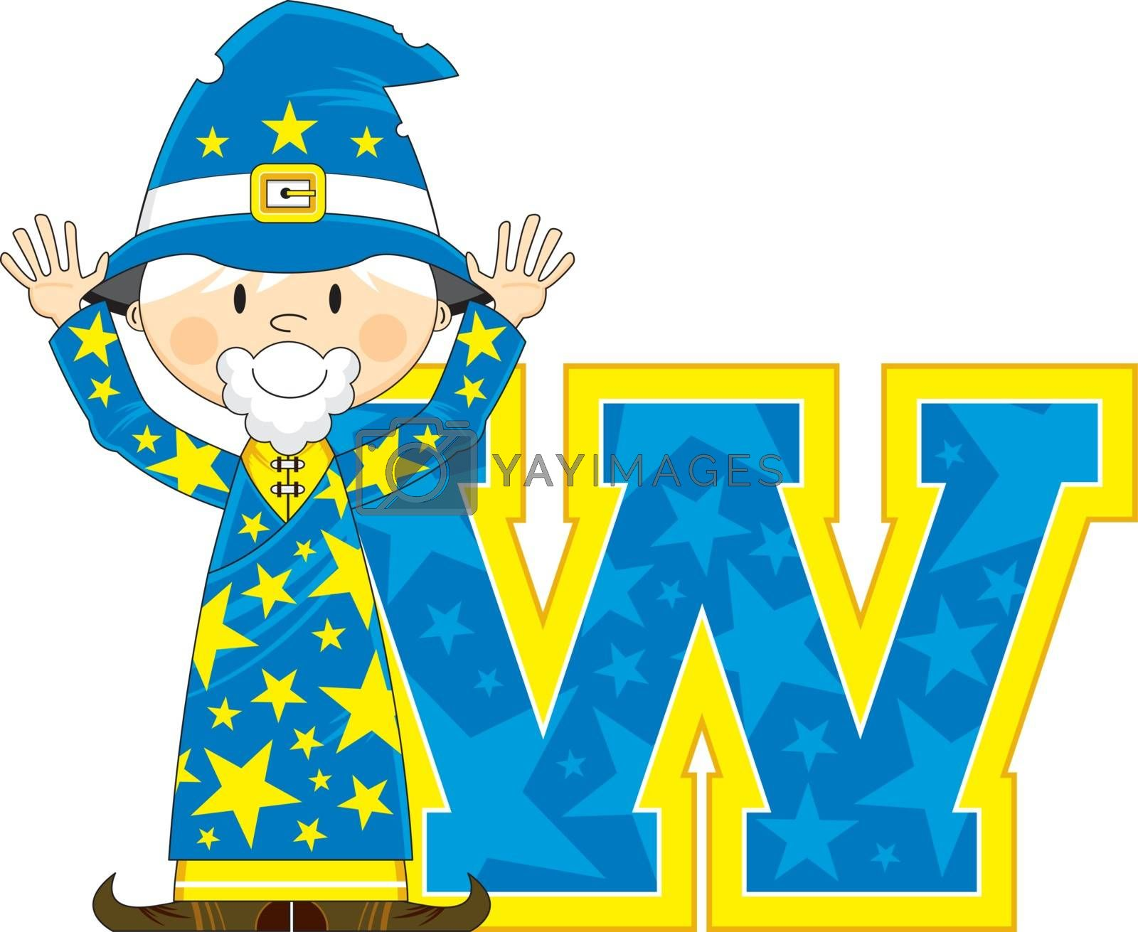 Cartoon W is for Wizard Alphabet Learning Illustration - By Mark Murphy Creative