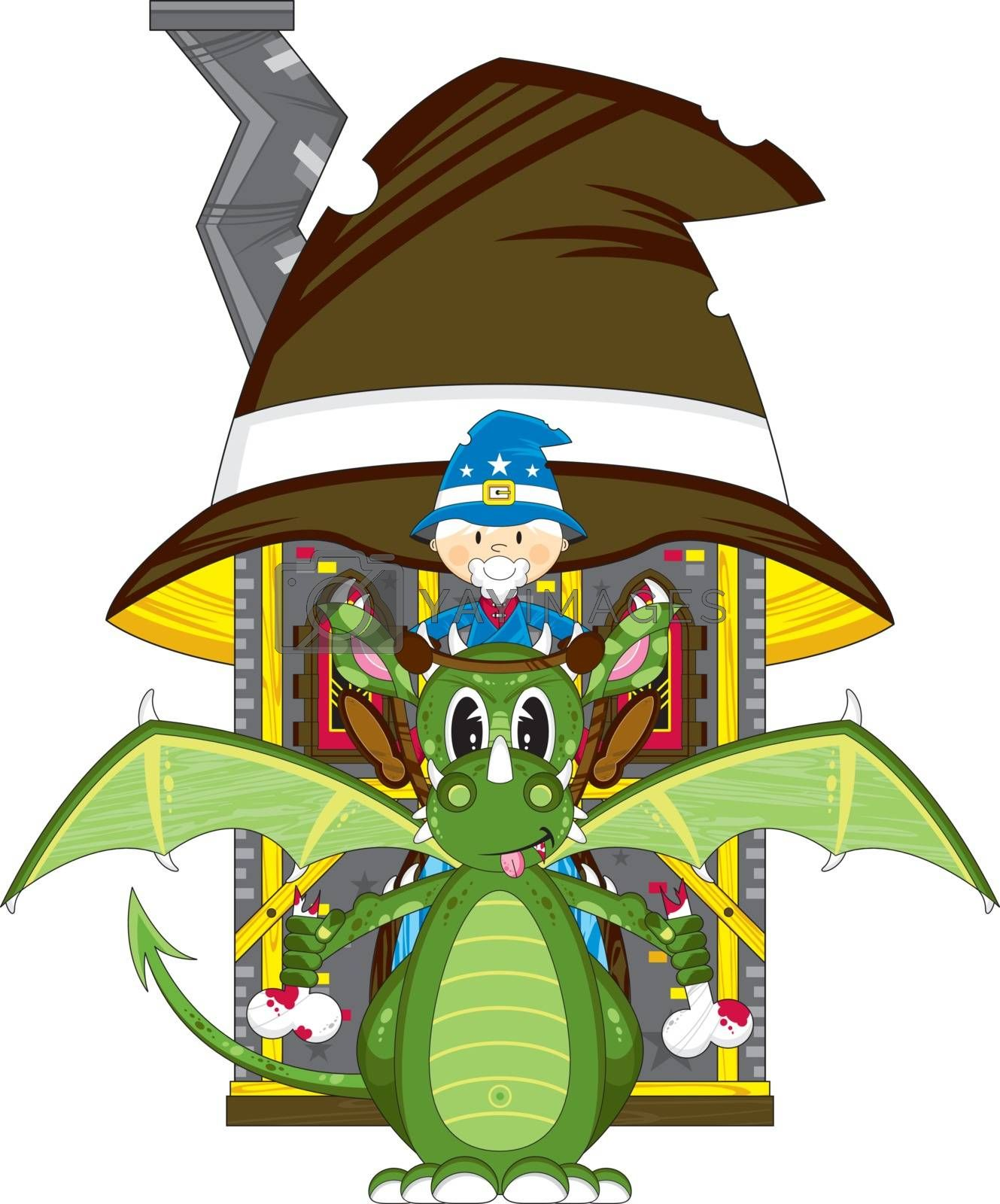 Cartoon Wizard on Dragon and House - Vector Illustration - By Mark Murphy Creative