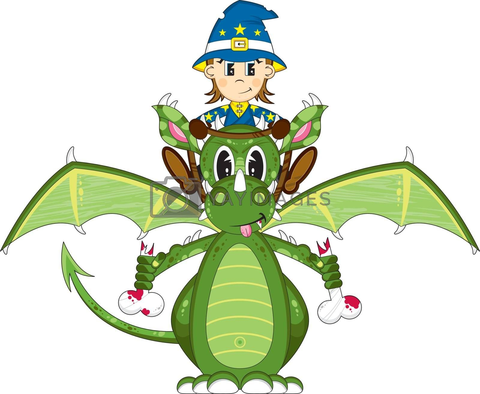 Cartoon Wizard with Dragon - Vector Illustration - By Mark Murphy Creative