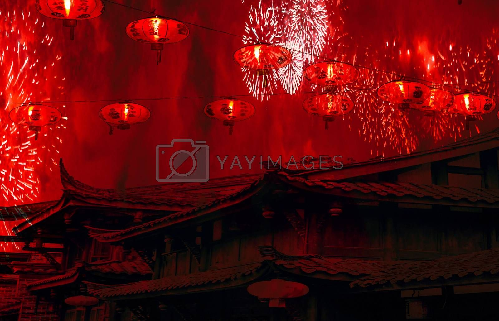 Chinese new year celebration chinese rooftops with lanterns in the sky and fireworks with red smoke amazing background