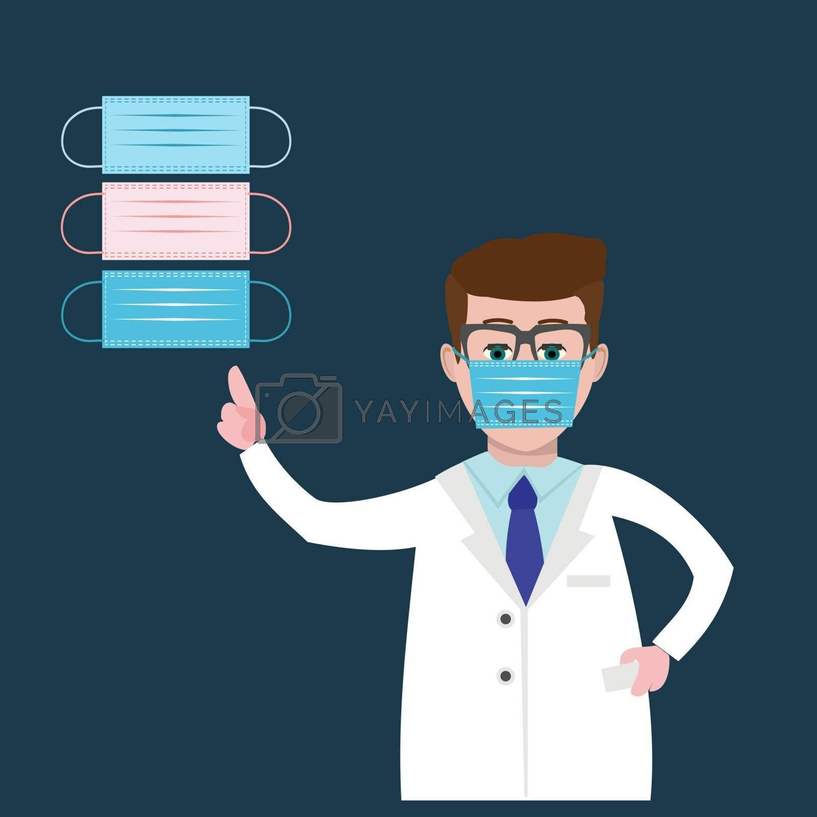 Doctor wearing a medical mask and pointing to it with her finger. Set of surgical mask. Vector illustration healthcare concept.