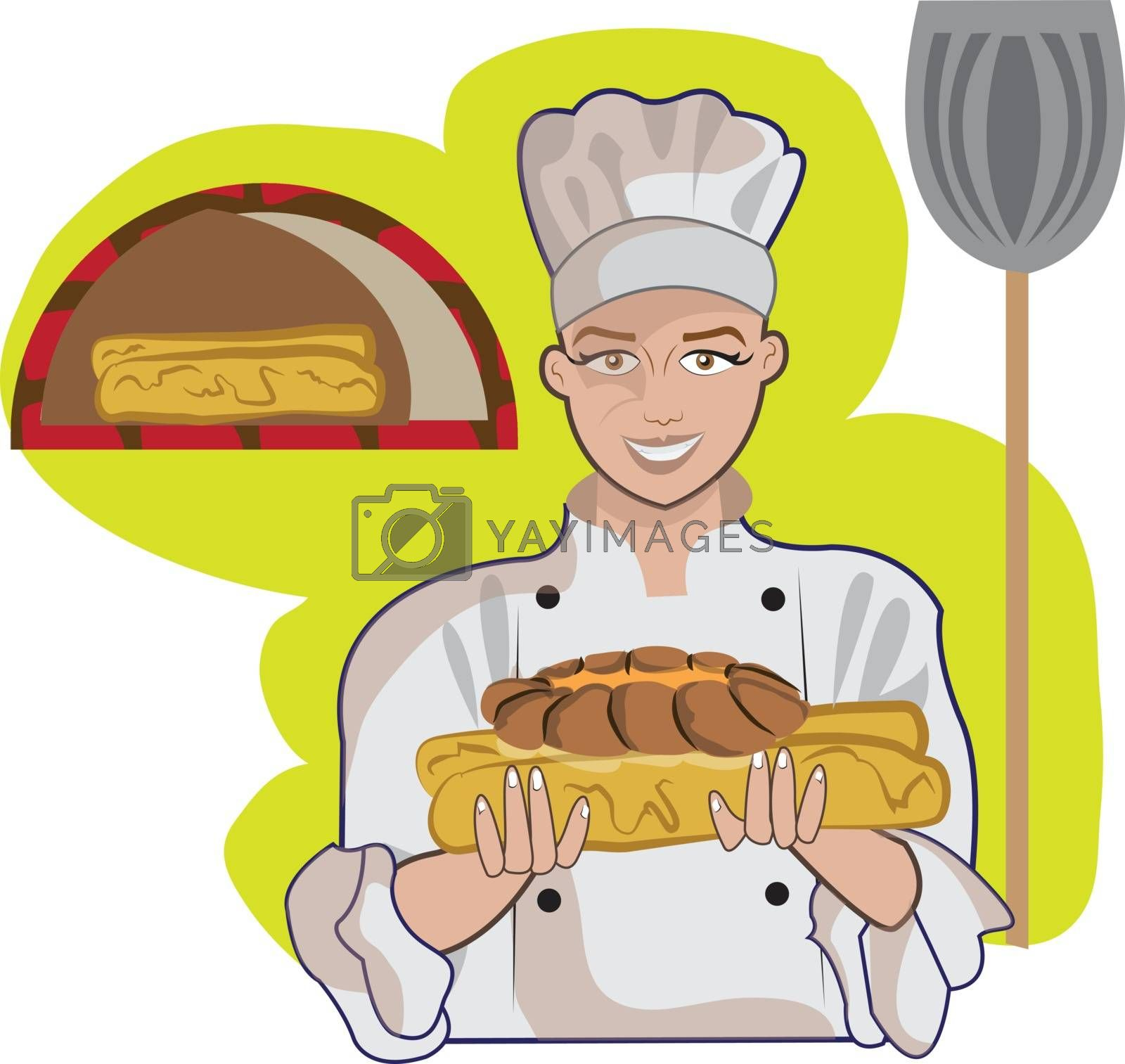 This illustration represents a woman while presenting some bread. Yellow background with a wood aven.