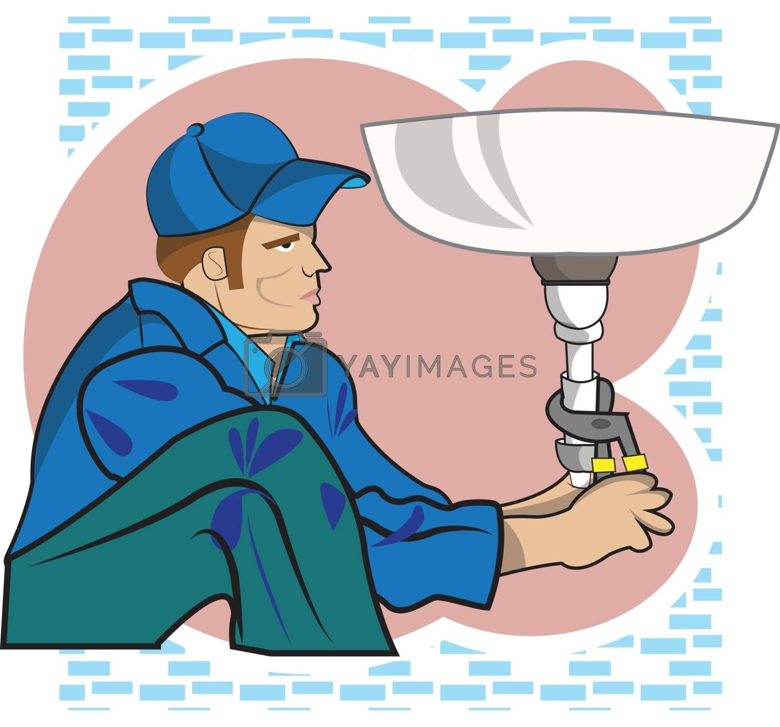 This illustration represents a plumber while working in a bathroom