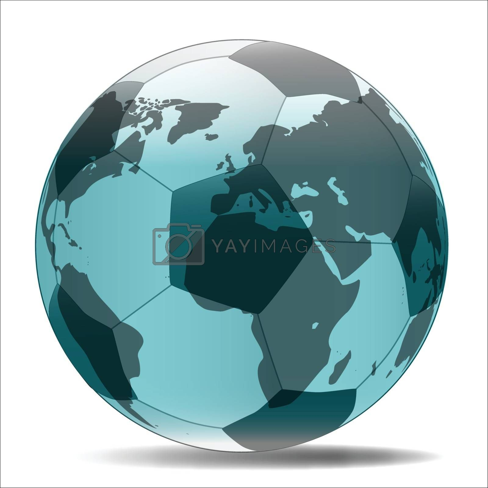 A typical soccer football with Earth map globe isolated over a white background.
