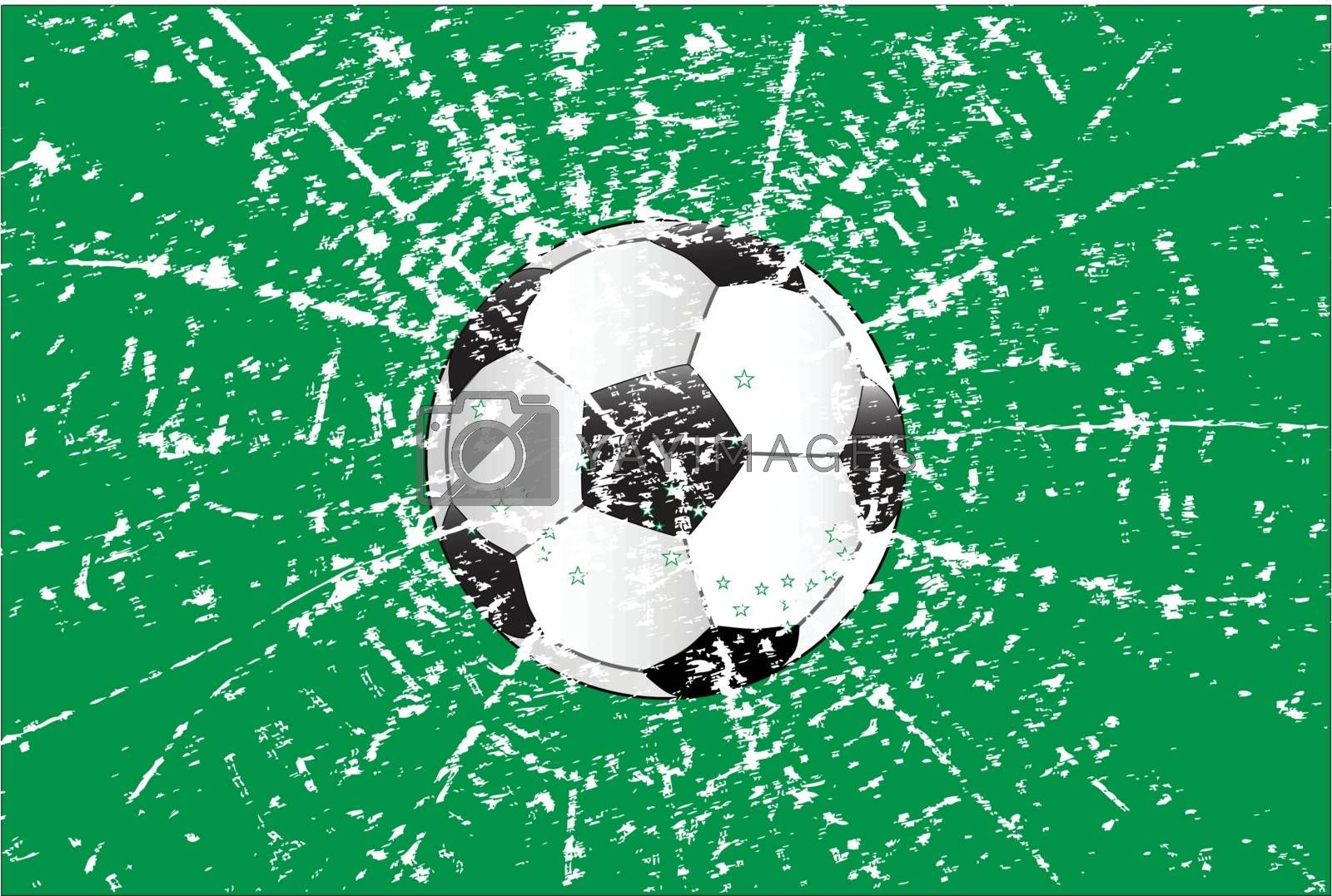 Typical football with a blue and white splatter style grunge background