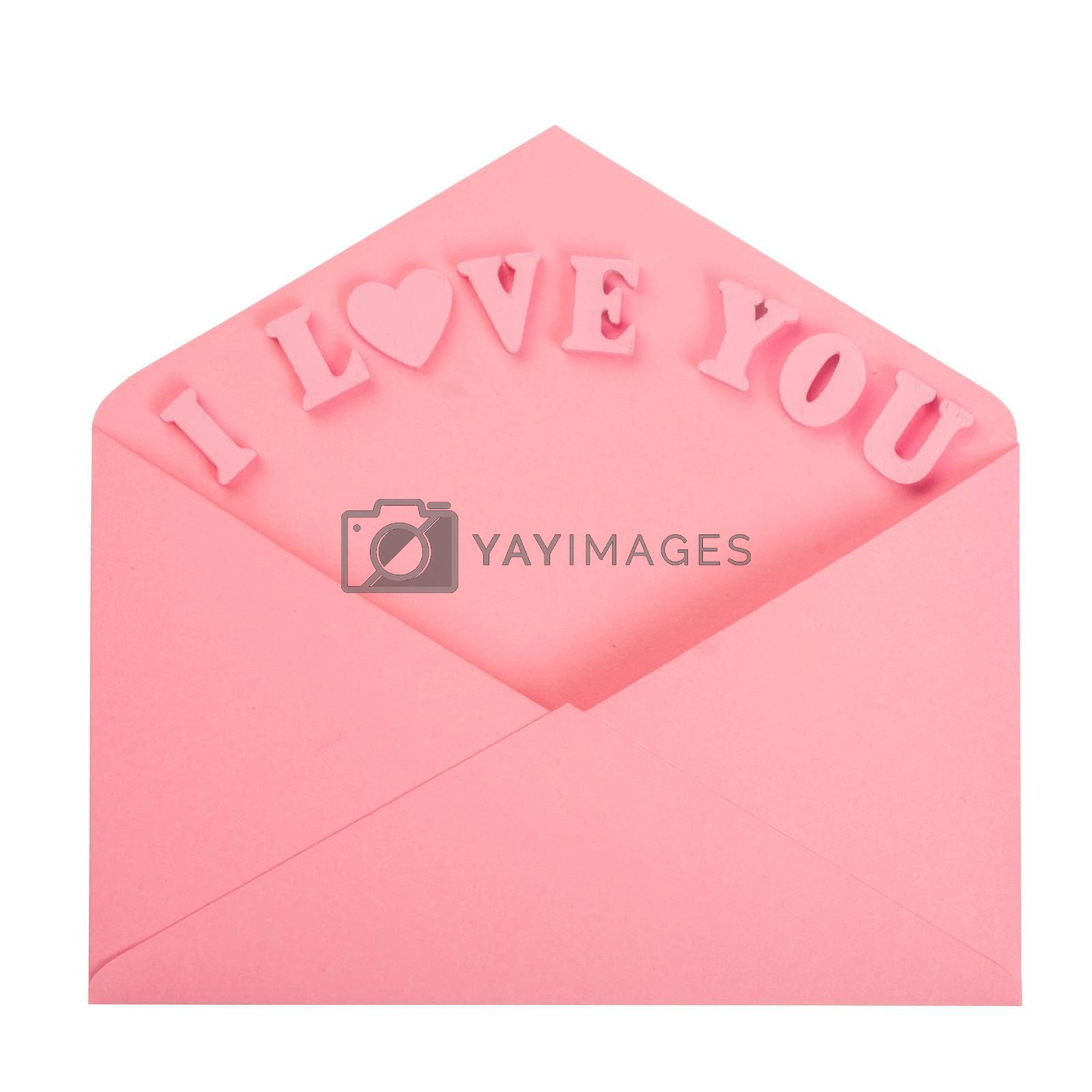 Pink love letter and wooden painted I love you letters isolated on white background