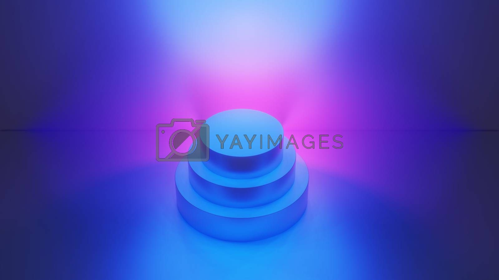 Product display stand for display of content design. Abstract fashion background, ultraviolet neon lights, pink blue vibrant colors, laser show. Banner for advertise product. 3D illustration