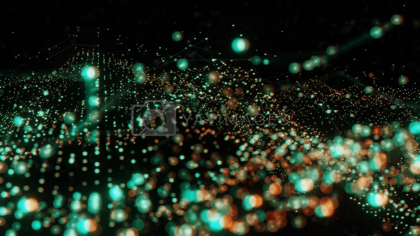 Plexus of abstract orange and green dots on a black background. Loop animations. 3D illustration