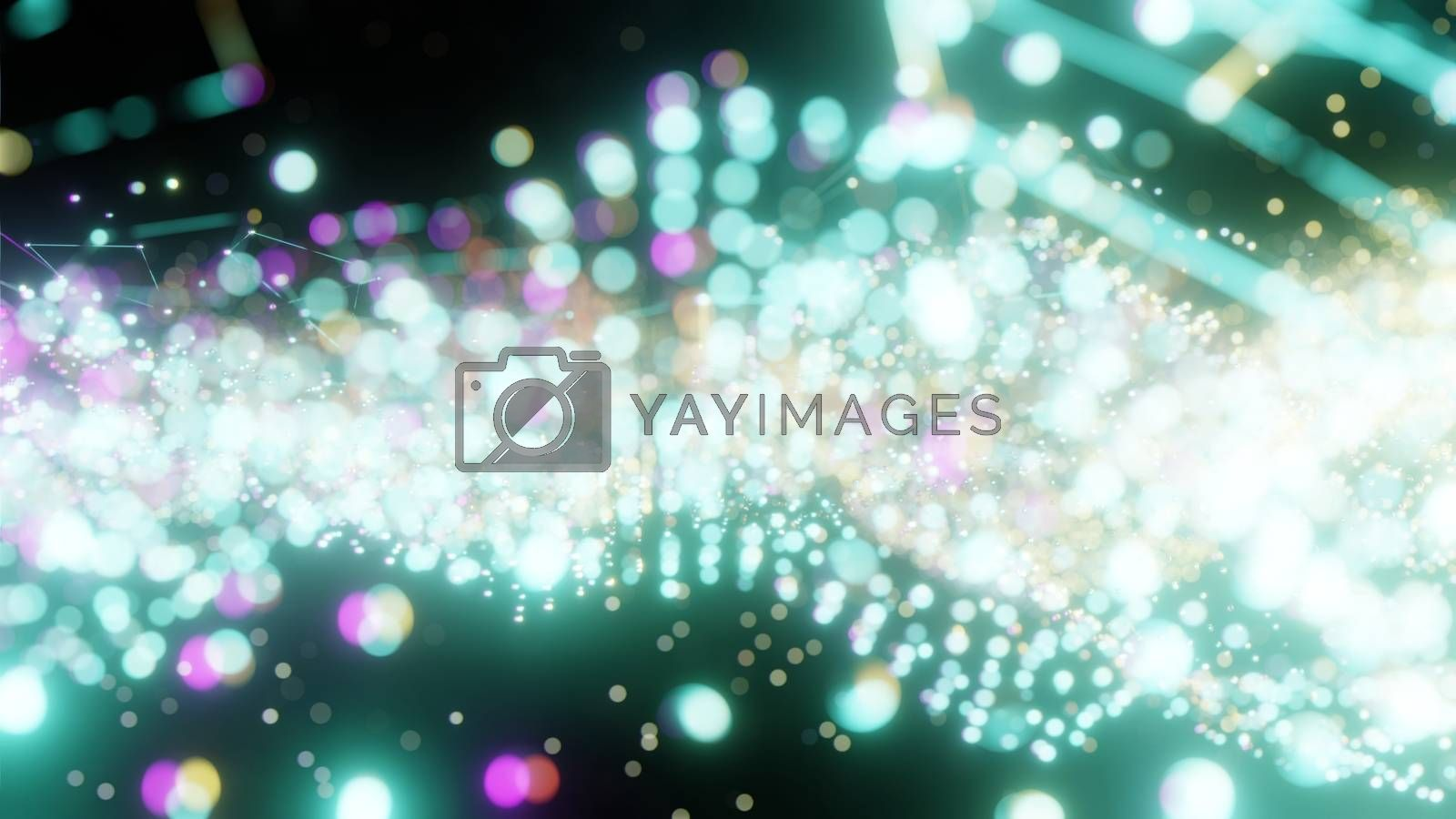 Plexus of abstract green dots on a black background. Loop animations. 3D illustration