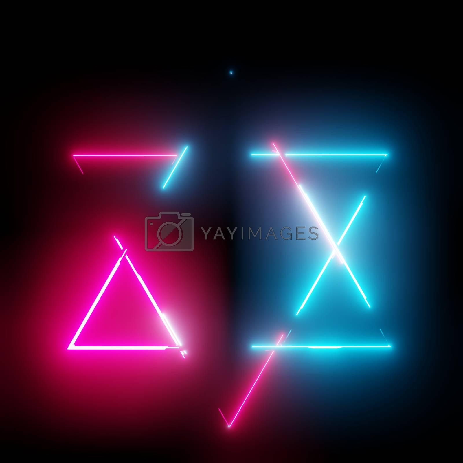 Neon light triangles frame on dark background. 3D illustration