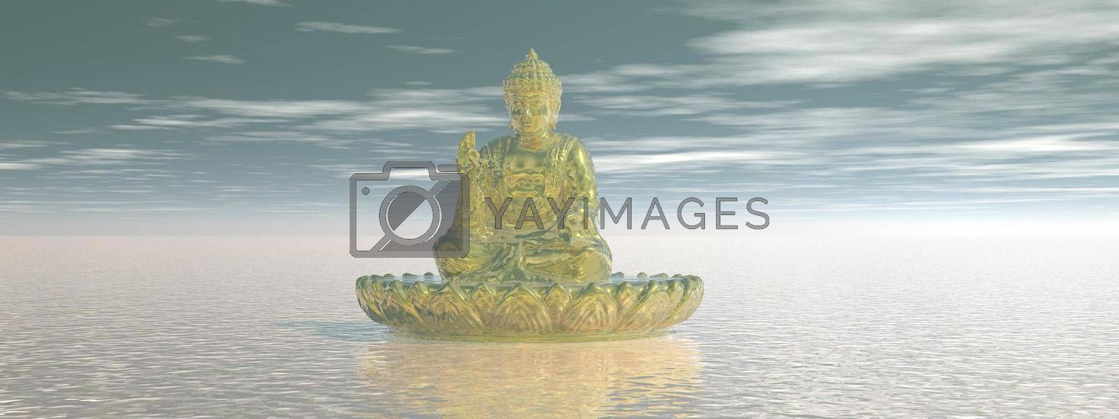 very beautiful zen and buddha landscape and sky - 3d rendering