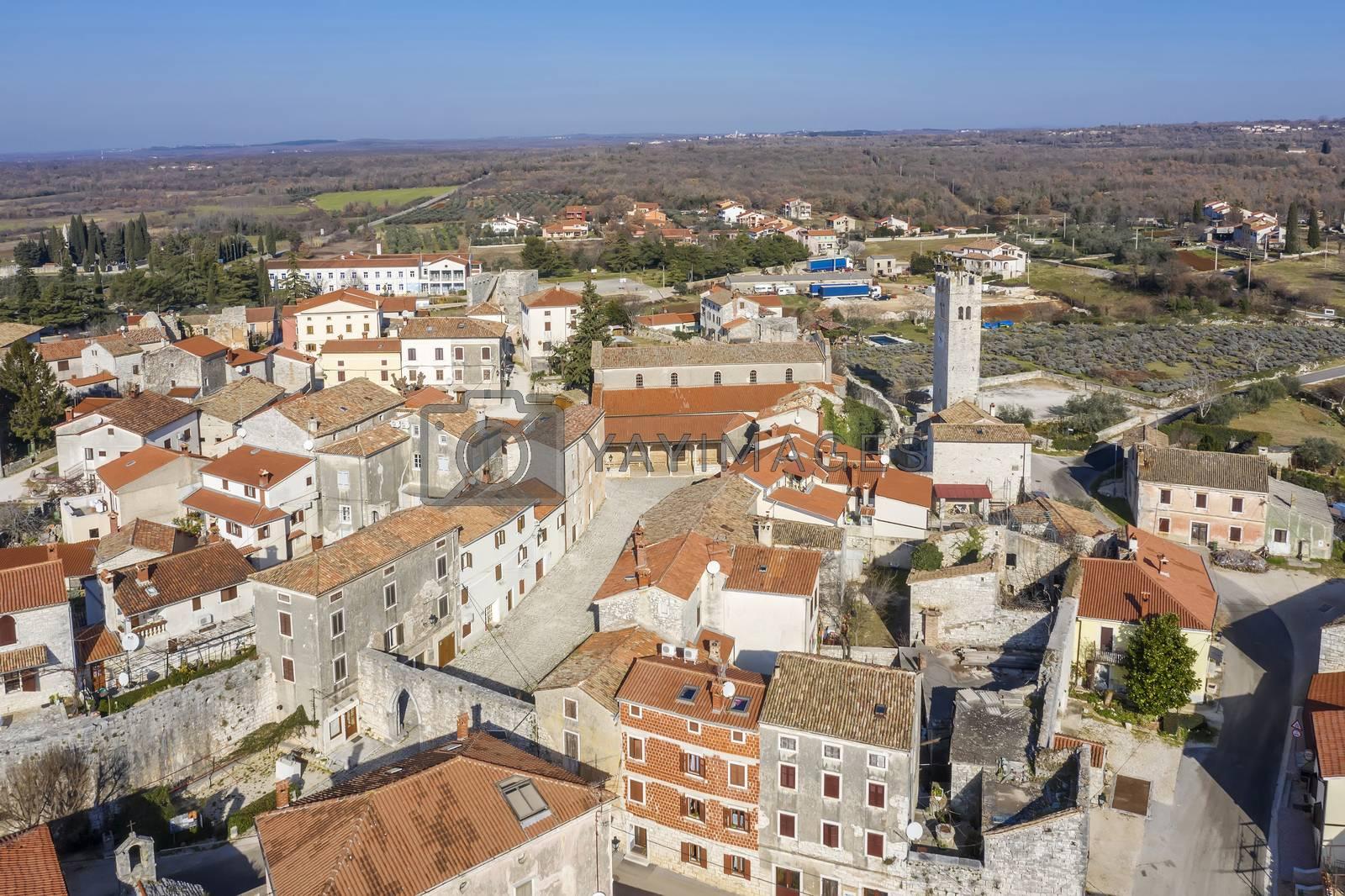 an aerial view of Sveti Lovrec and St. Martin's Church bell tower, Istria, Croatia
