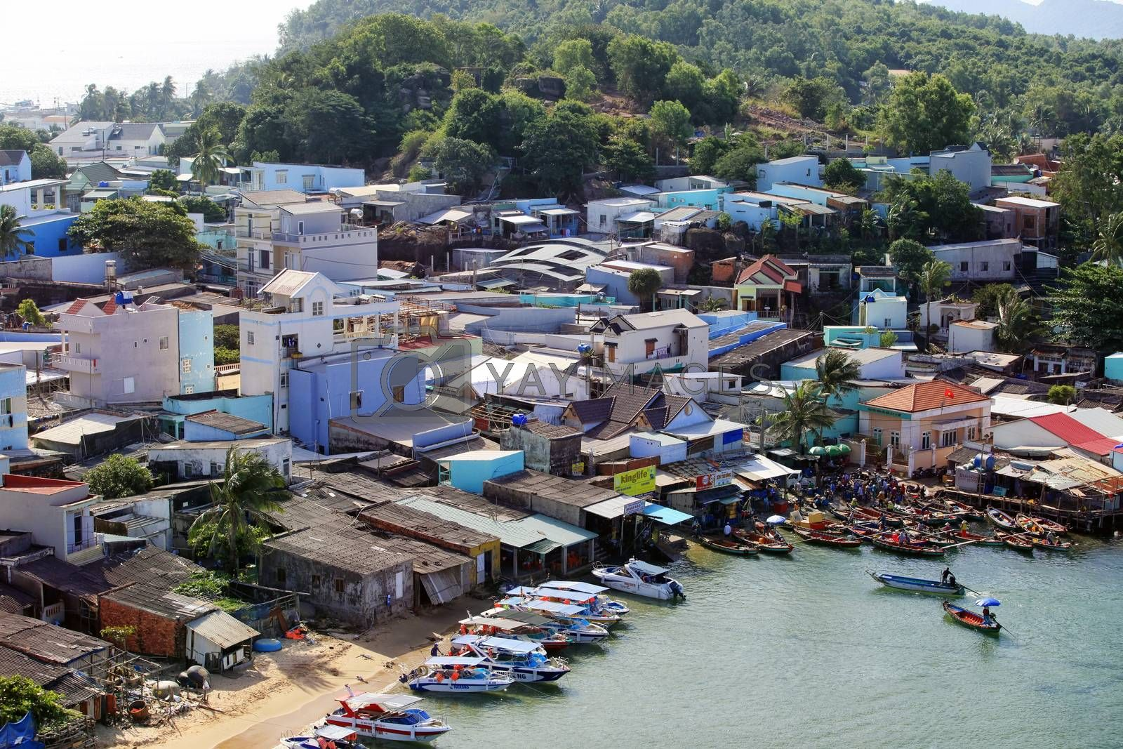 Fishing village top view in Vietnam, Phu Quoc