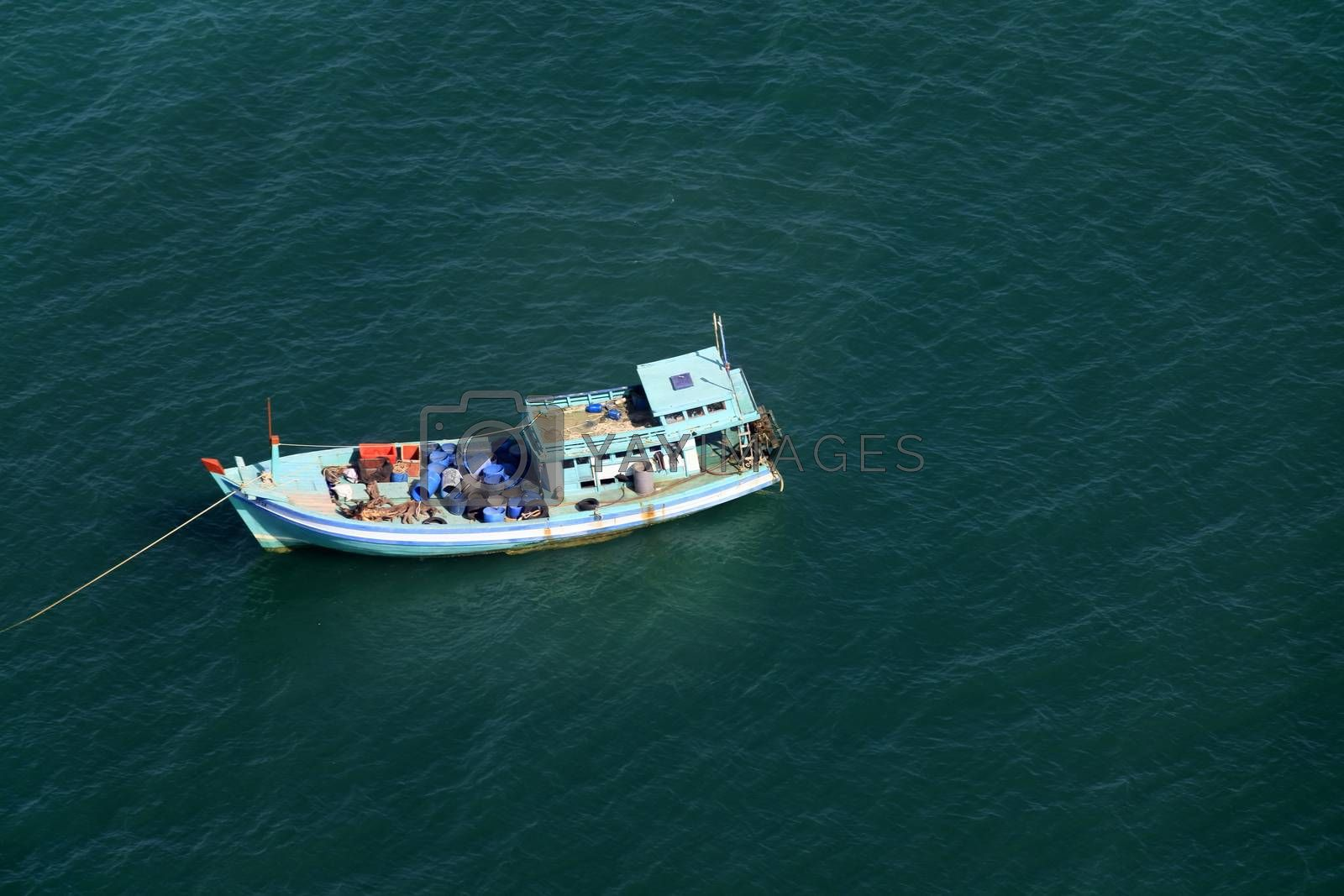 Aerial view  boat at the turquoise sea in Vietnam, Phu Quoc