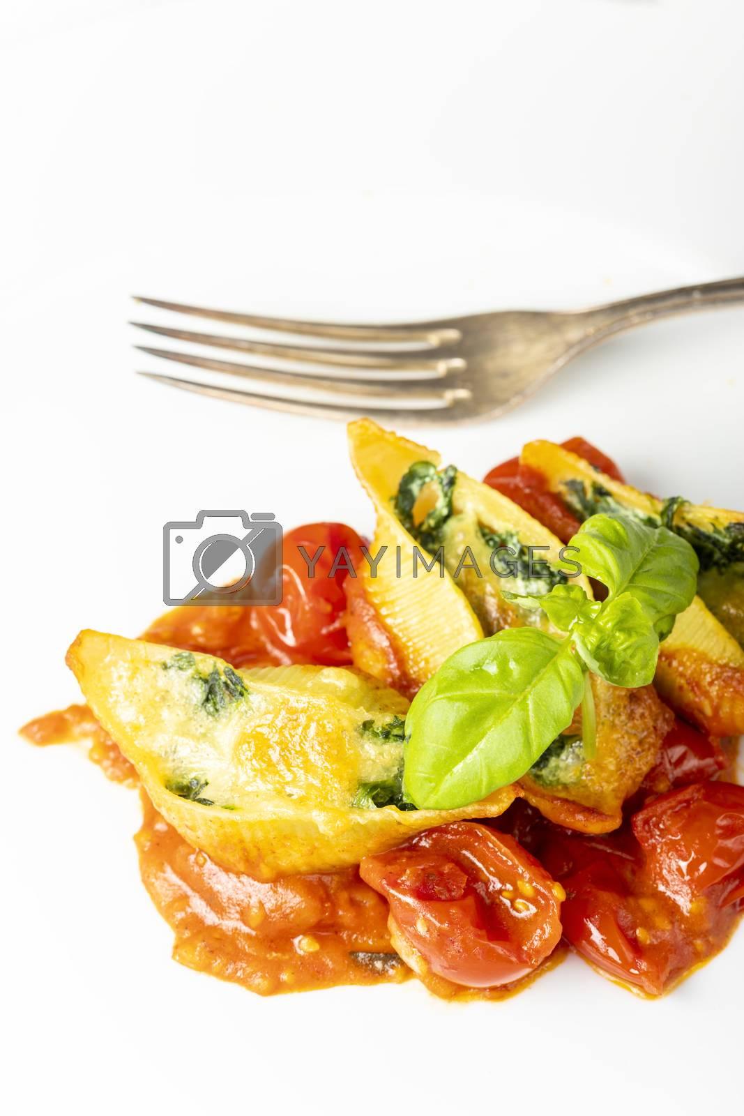 italian conchiglino pasta filled with spinach