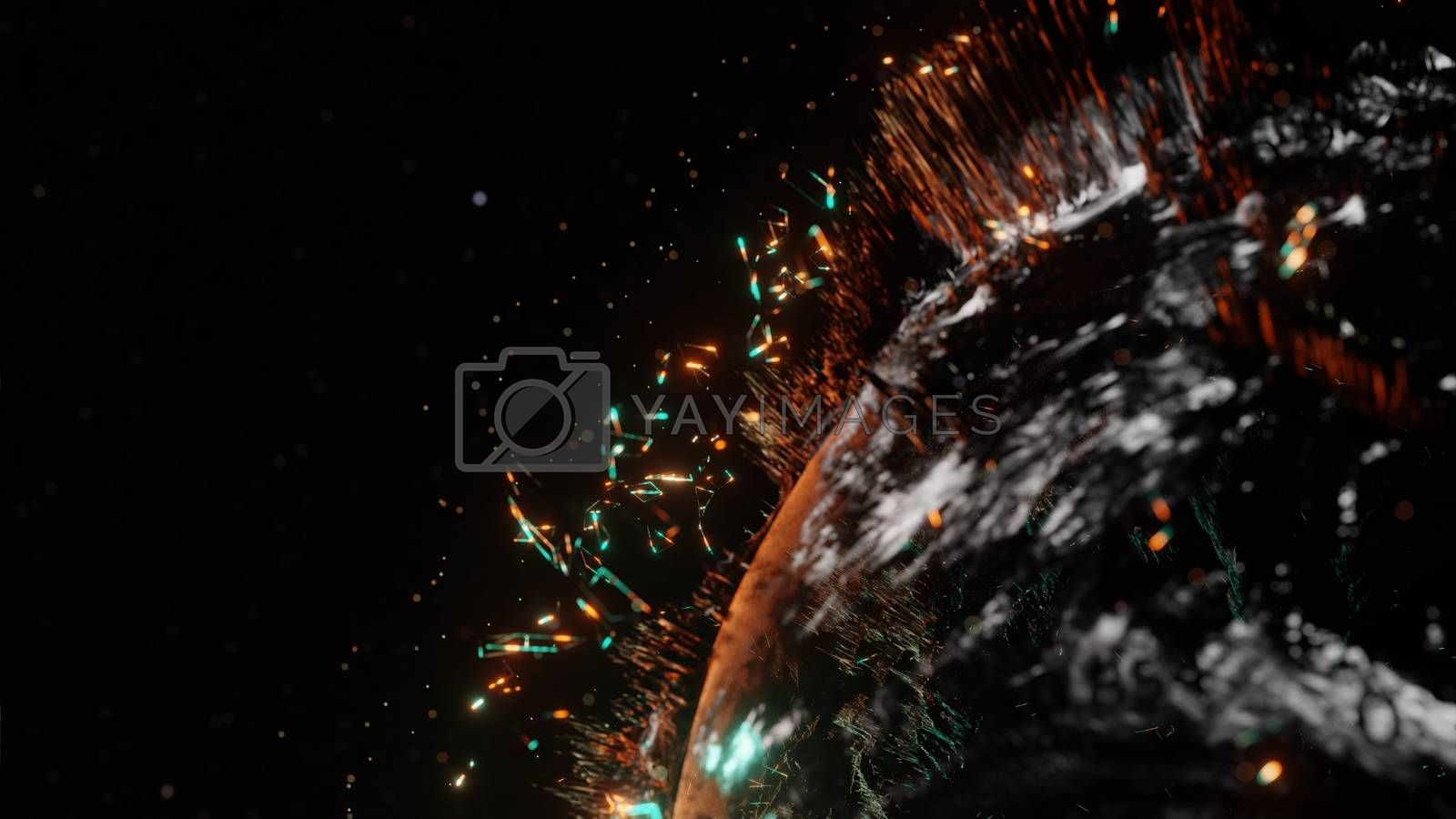 Abstract futuristic planet Earth surrounded by virtual elements. Dots, numbers and lines. Element of this image furnished by NASA. 3D rendering. Technology concept