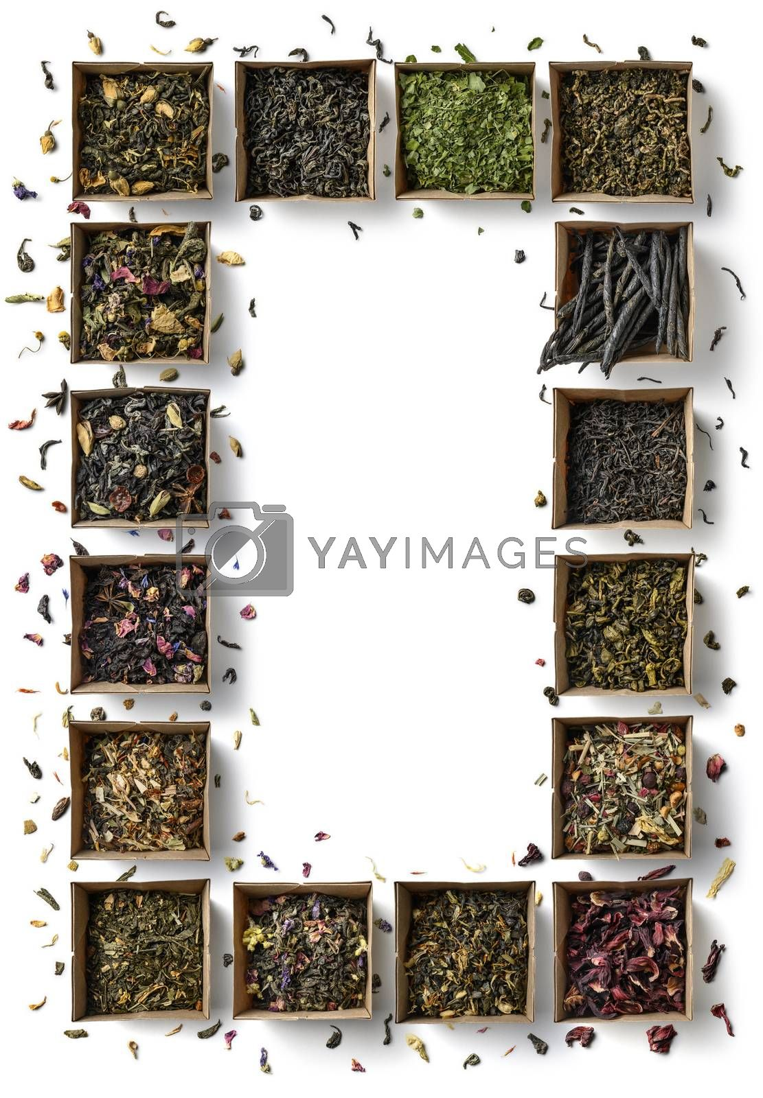 Large assortment of teas in the form of a frame on a white background. The view from the top by butenkow