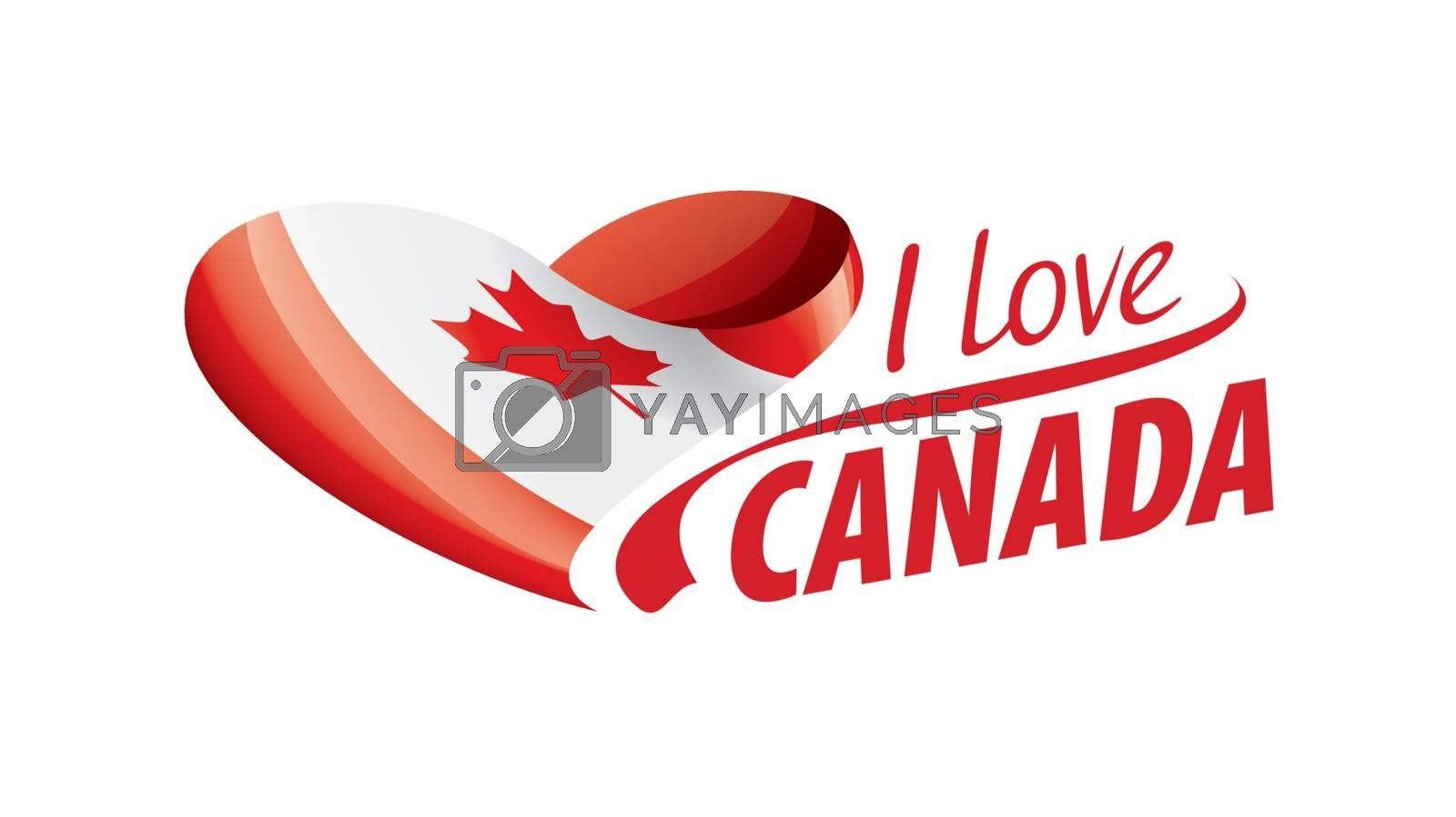 National flag of the Canada in the shape of a heart and the inscription I love Canada. Vector illustration.