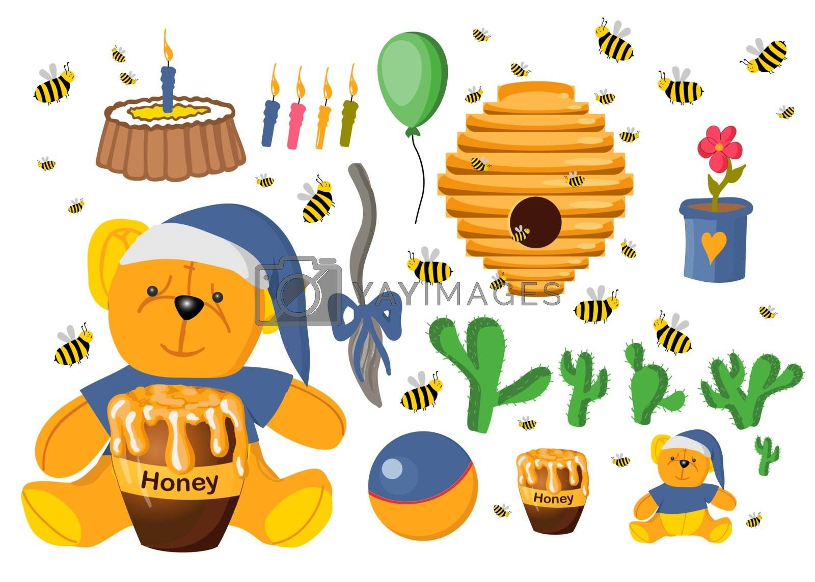 Sticker set Winnie the Pooh. Toys isolated on a white background. Plush witch. Flower in a pot. Elements for baby cards. Fairy-tale heroes. Book characters.