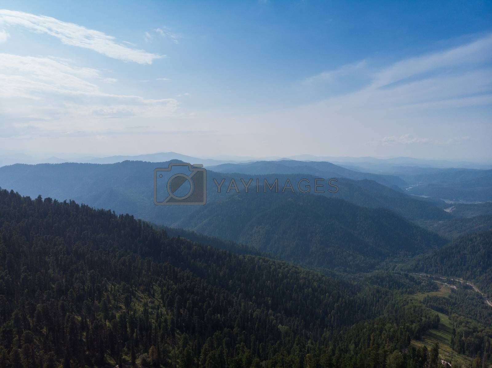 Aerial view on Teletskoye lake in Altai mountains, Siberia, Russia. Drone shot. Beauty summer day.