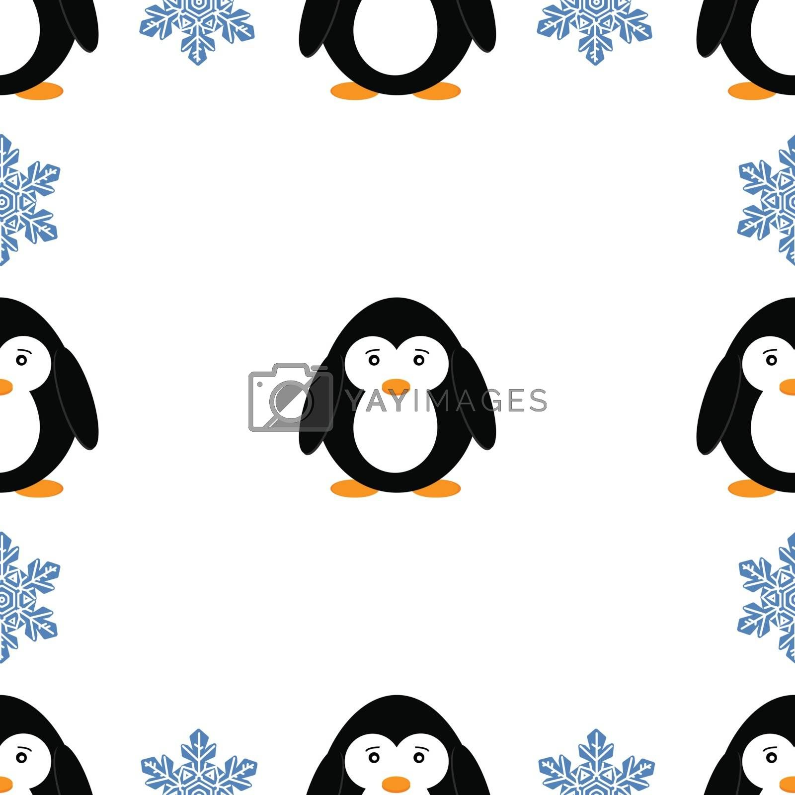 Seamless pattern with penguins and snowflakes. Cute penguin cartoon vector illustration. Winter animals pattern