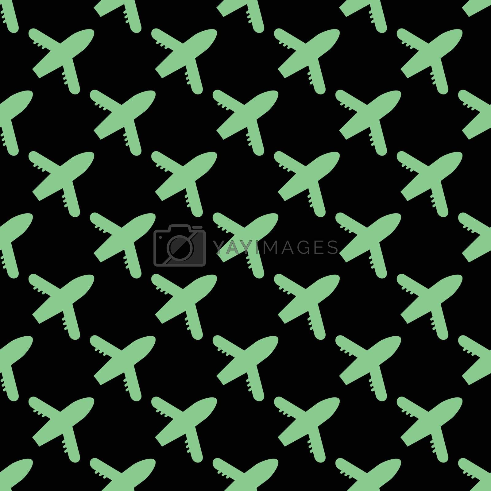 Seamless vector airplane pattern in green color. Flat simple style for any web design or textile