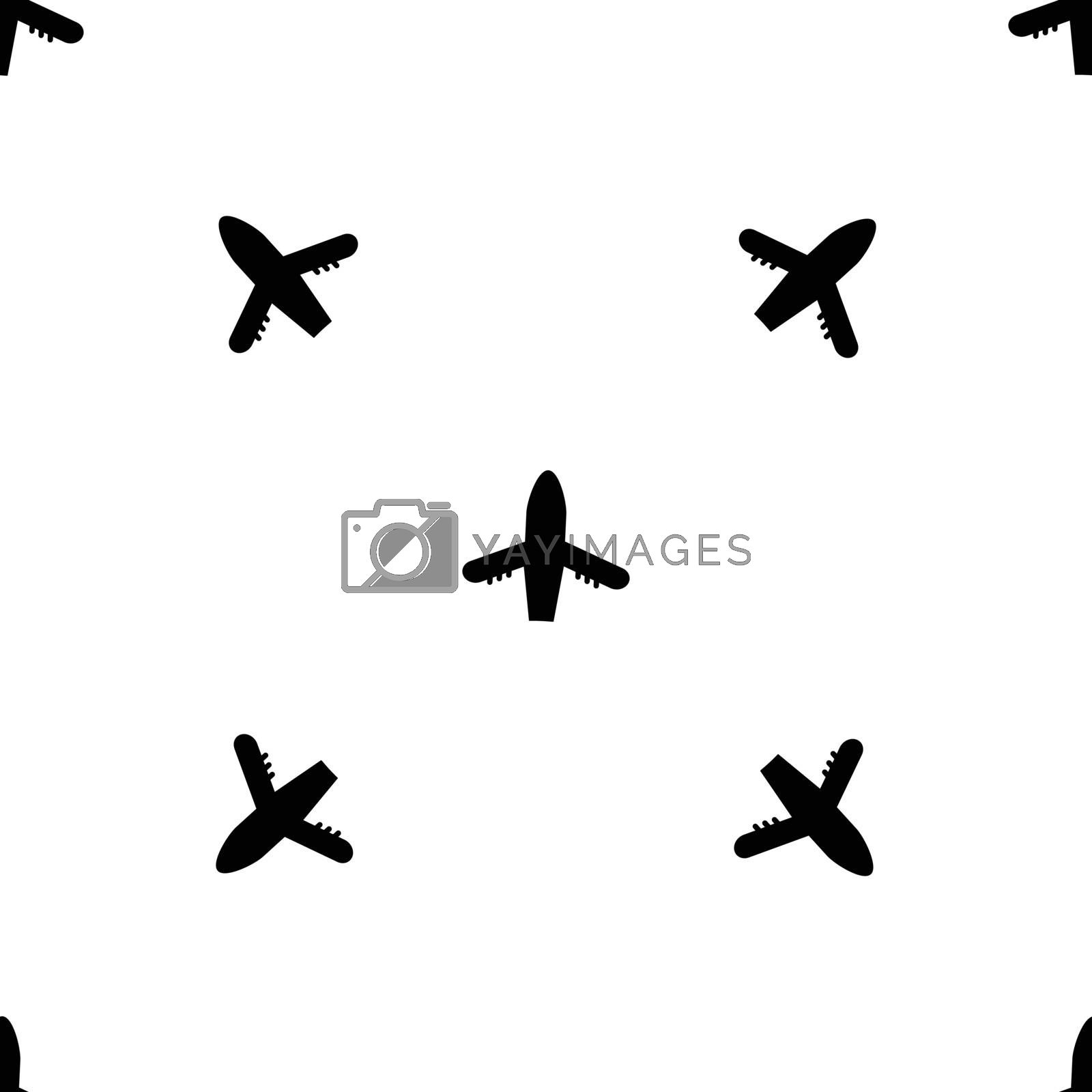 Seamless vector airplane pattern. Flat simple style for any web design or textile. Black and white illustration