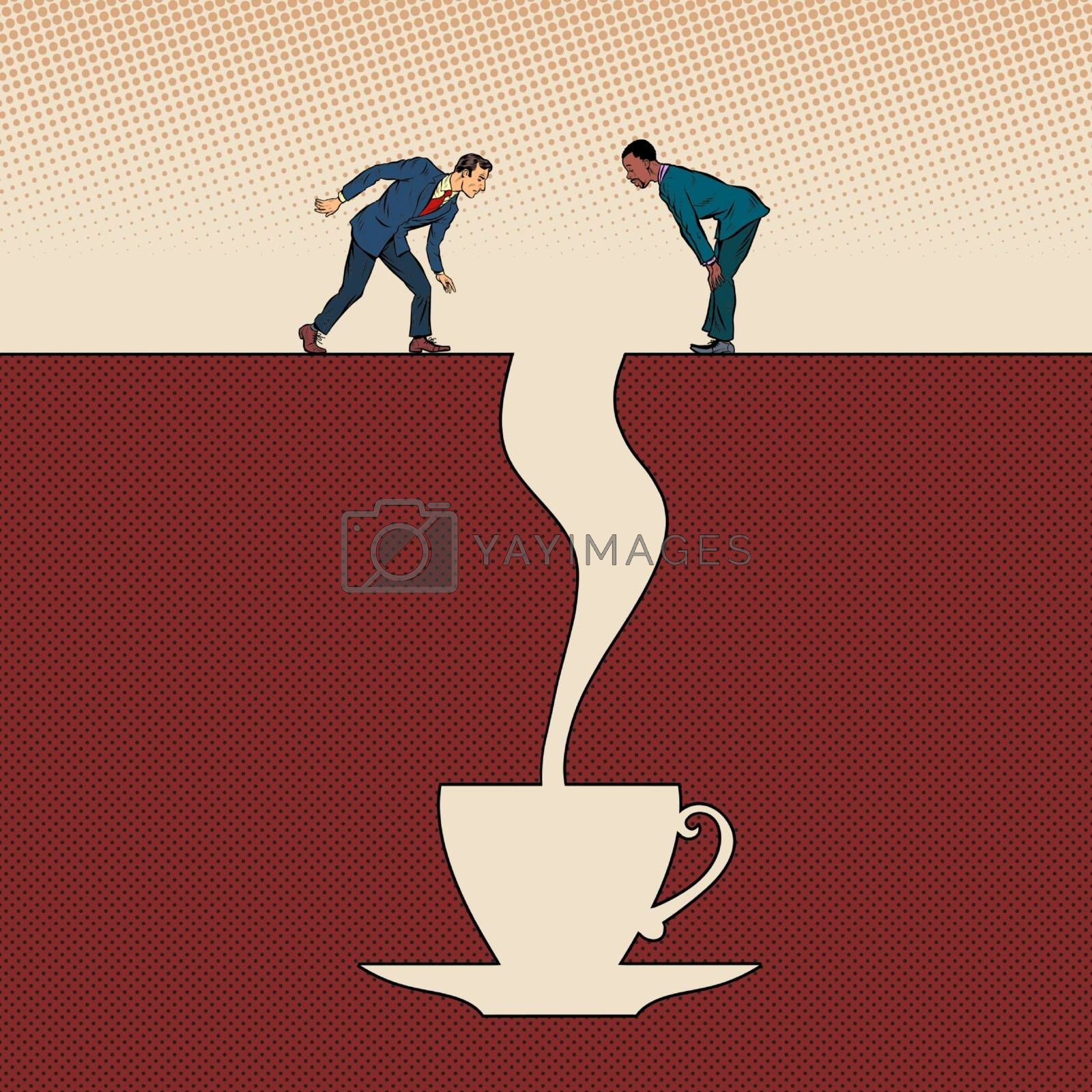 Men and a cup of coffee. Pit silhouette. Pop art retro vector illustration 50s 60s style