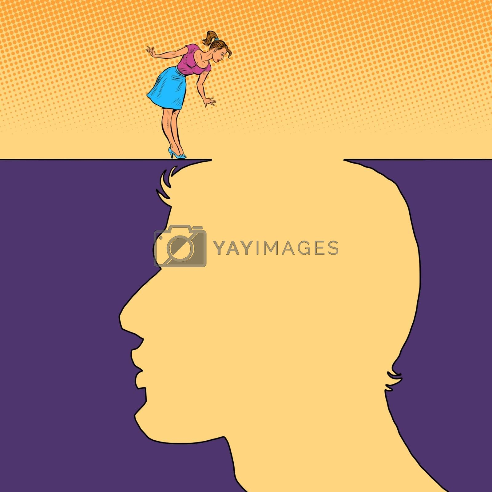 Woman and man love concept. Pit silhouette. Pop art retro vector illustration 50s 60s style