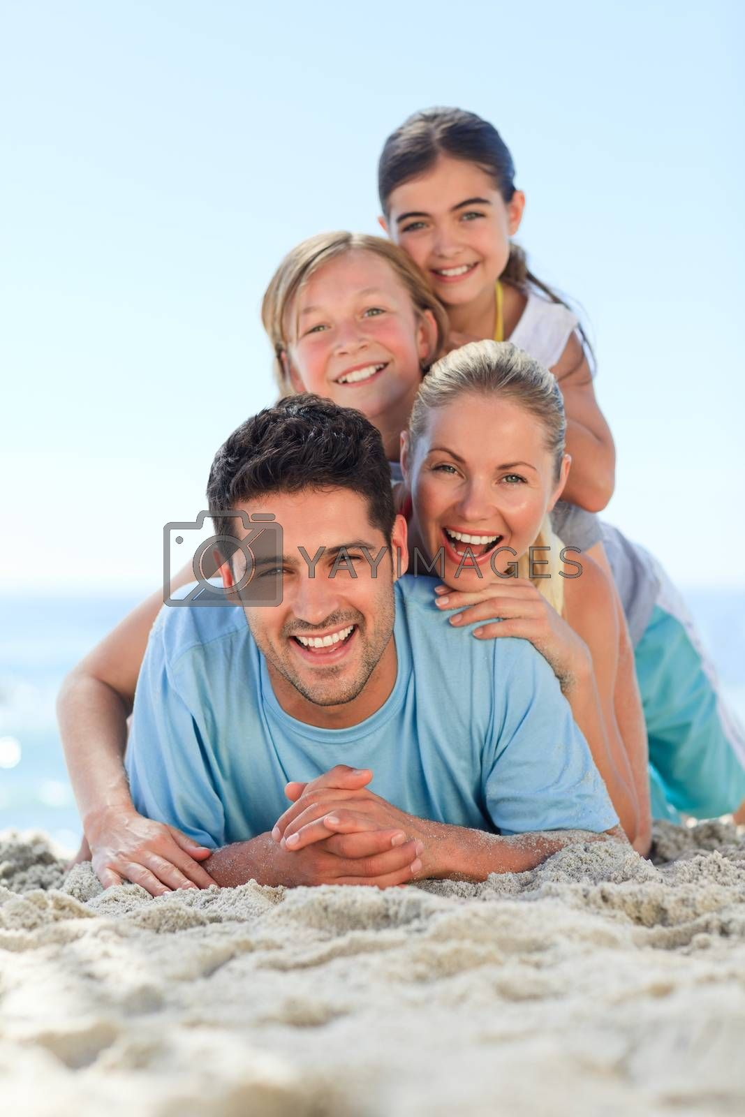 Portrait of a smiling famiy on the beach