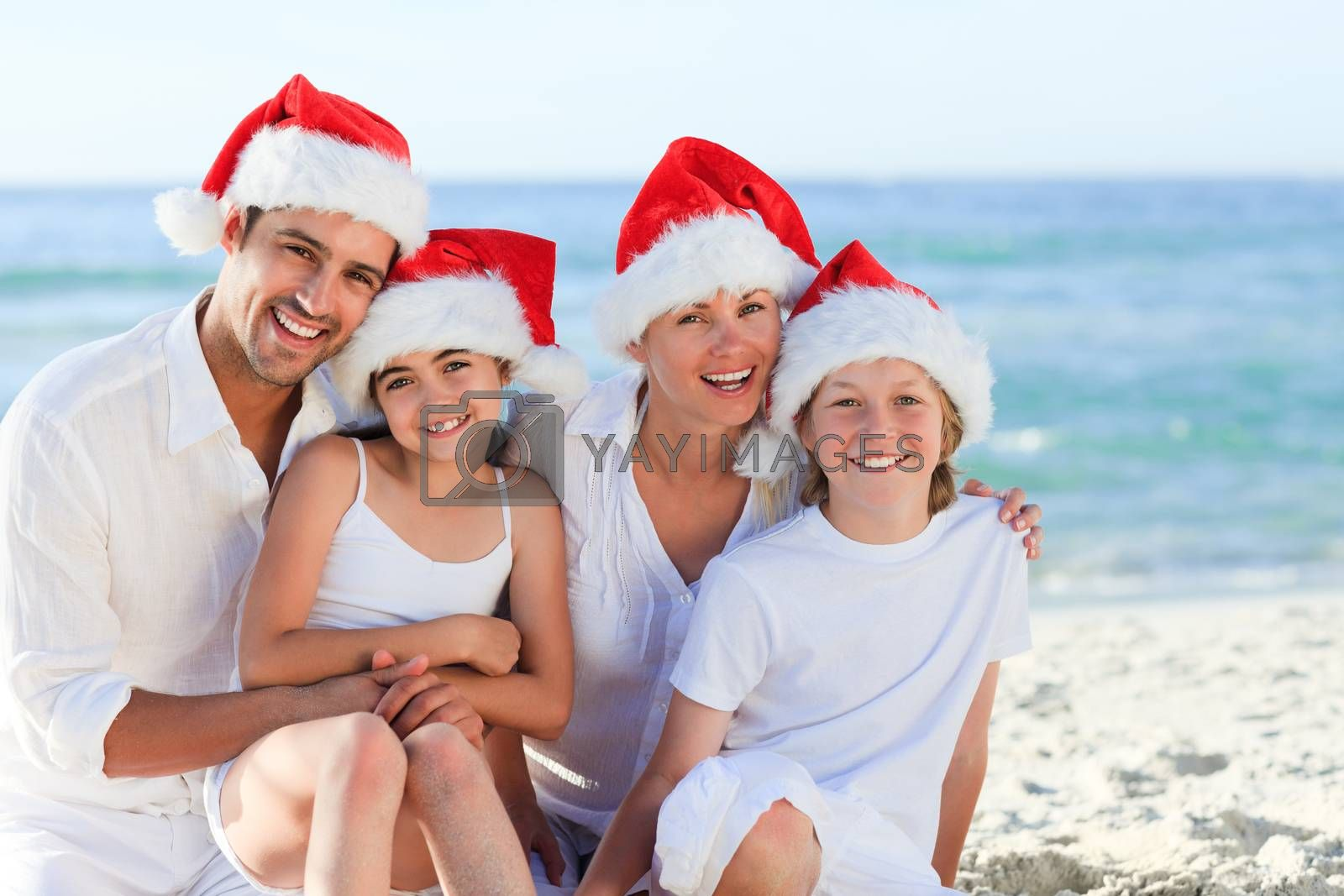 Family during Christmas day at the beach