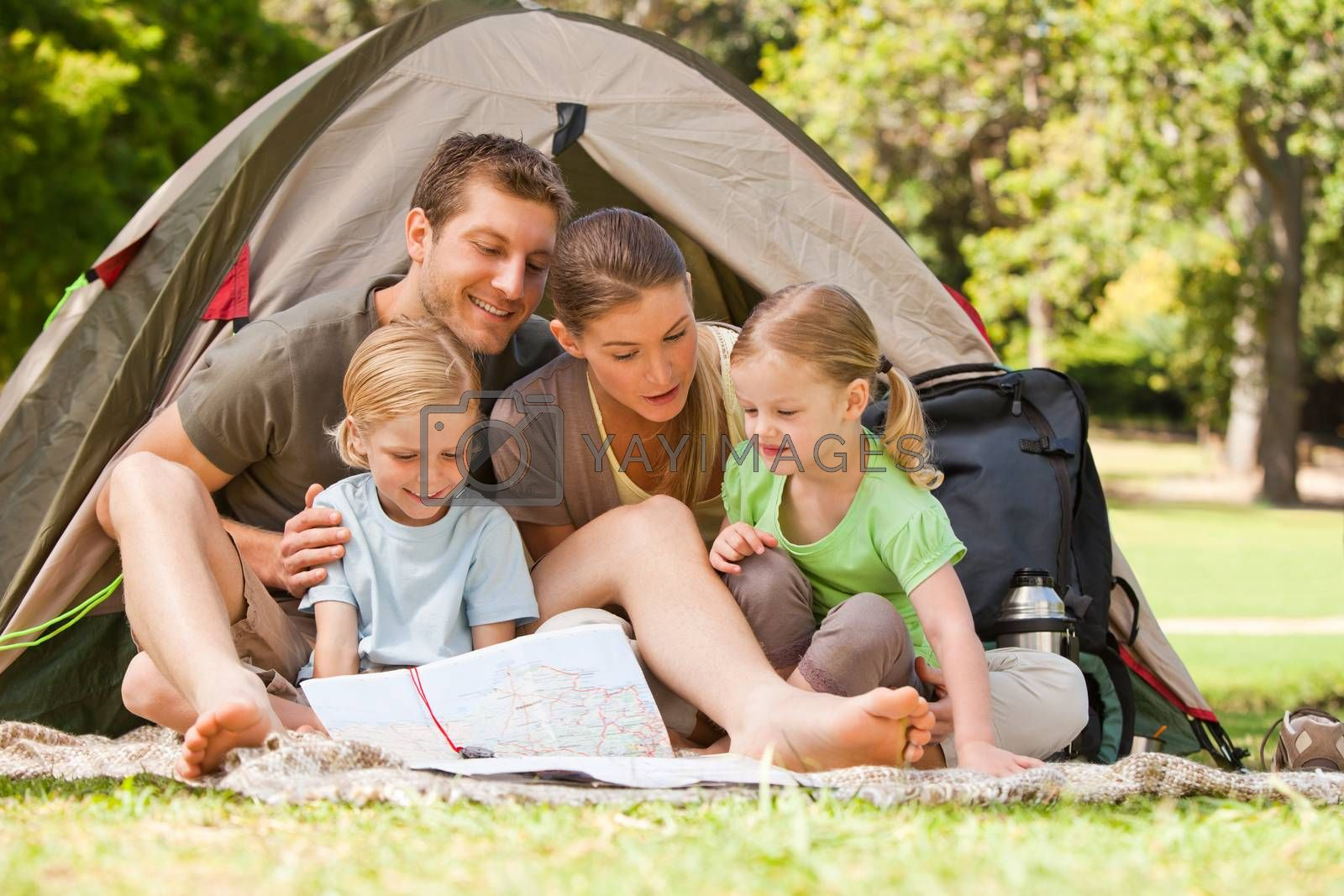 Family camping in the park during the summer