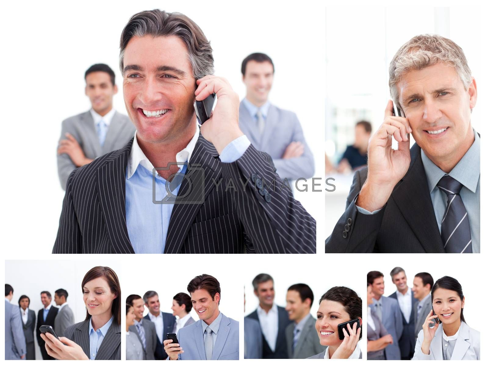 Collage of business people using mobil phones