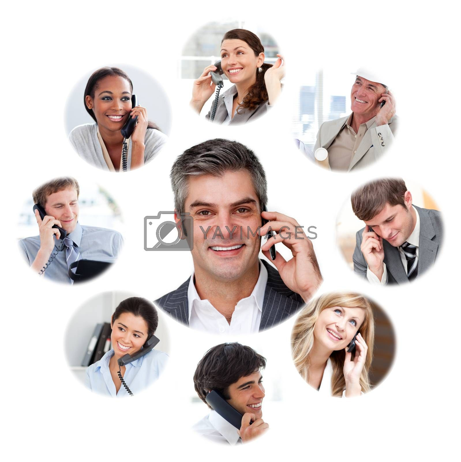 Illustration about business communication against a white background