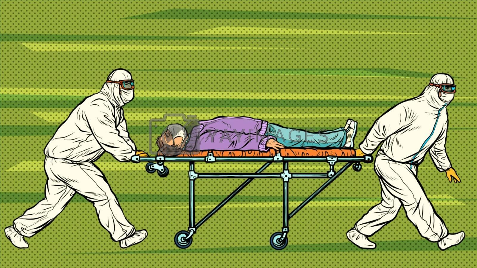 Doctors take away a sick patient. Novel Wuhan coronavirus 2019-nCoV epidemic outbreak. Pop art retro vector illustration 50s 60s style