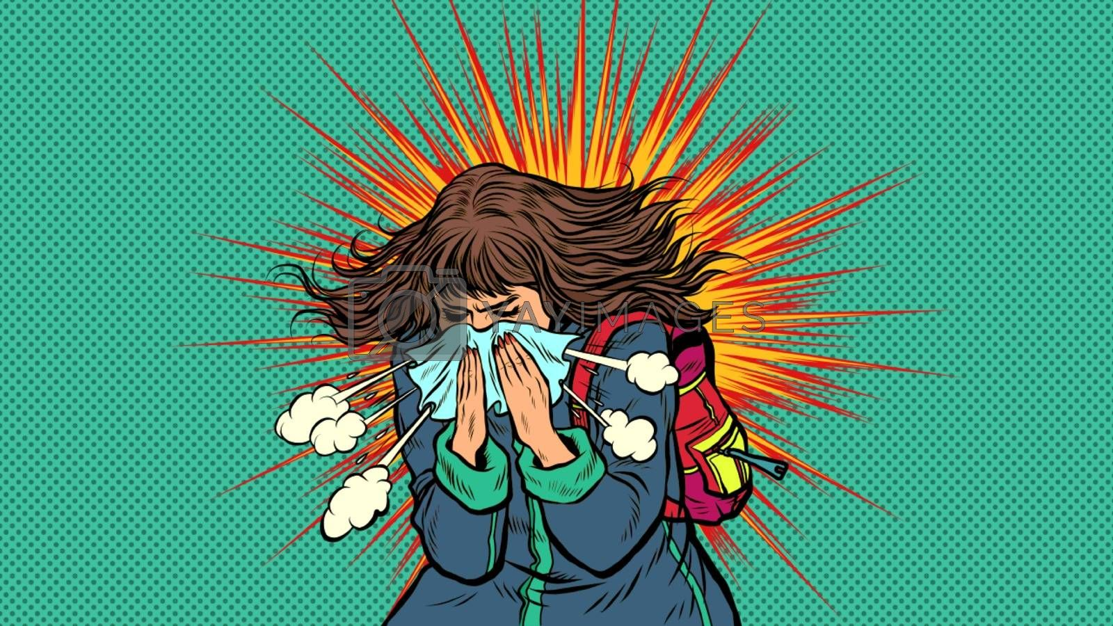 Woman sneezes, symptoms of the disease. Novel Wuhan coronavirus 2019-nCoV epidemic outbreak. Pop art retro vector illustration 50s 60s style